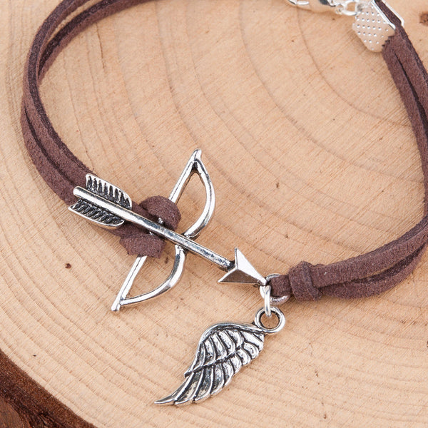 Doreenbeads handmade suede velvet bracelets antique silver color silver color coffee bow and arrow wing hollow 010b425d 5664 4102 8838 64789251864c grande