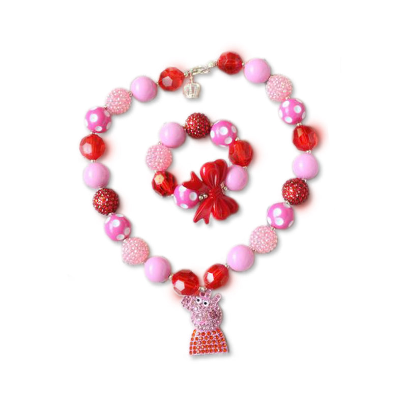 Chunky Bead Bracelet / Peppa Piggy, by Alice Lee