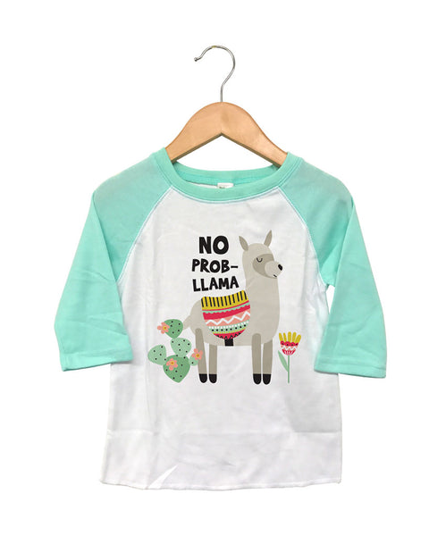 T Shirts & Onesies by GGG / Mint Raglan T Shirt / No Prob-Llama!