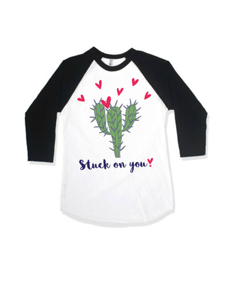 T Shirts & Onesies by GGG / Stuck On You ❣️B & W Raglan