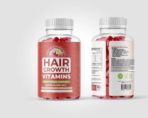 BIOTIN VEGETARIAN STRAWBERRY GUMMIES FOR HAIR GROWTH