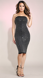Women's Rhinestone Embellished Tube Dress