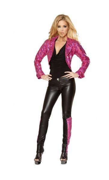 Women's Wet Look Skinny Pants with Sequin Inset