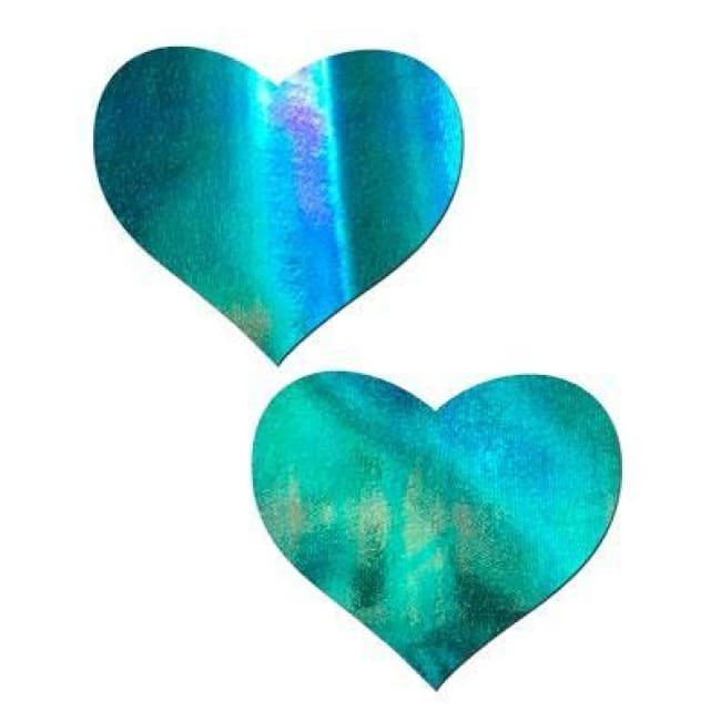 2pc Heart Pasties - Iridescent Blue / One Size - Accessories
