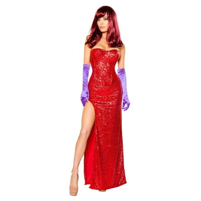 2pc Jessica Rabbits Lover Costume Set - Small / Red - Costumes