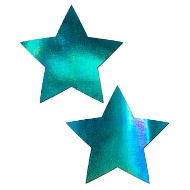 2pc Star Pasties - Iridescent Blue / One Size - pasties