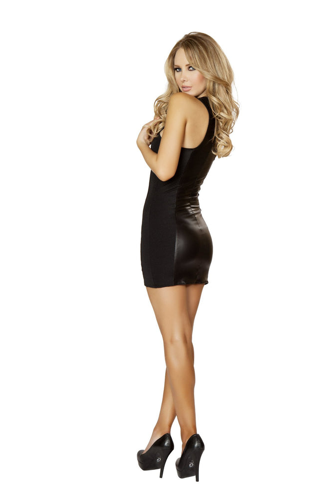 Women's Wet Look Black Mini Dress with Full Zipper Morgan Le Faye LLC