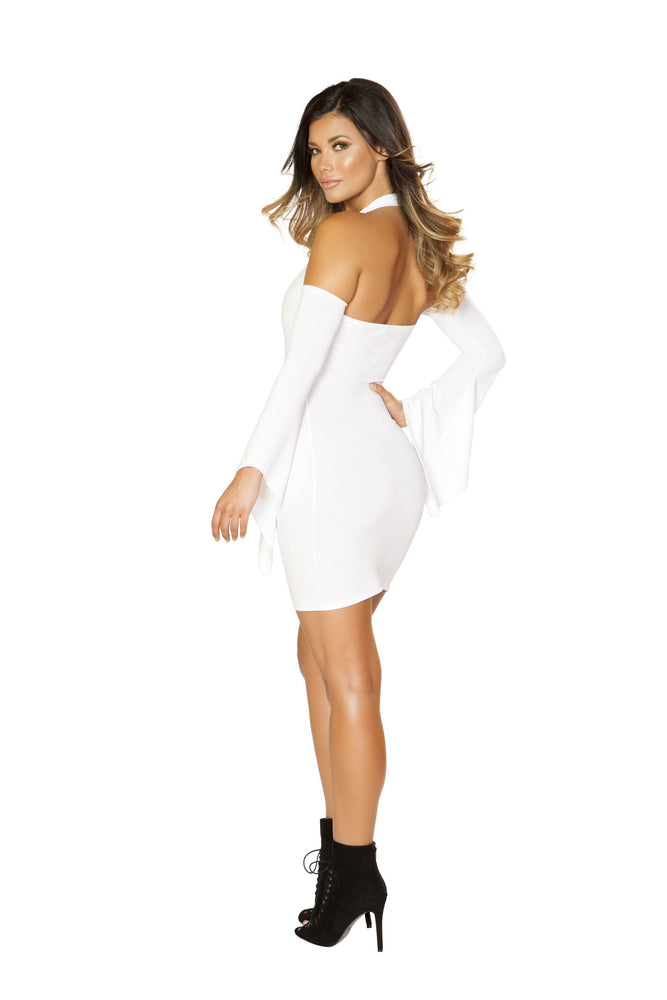 Roma Clubwear Long Flared Sleeve Dress with Cutout Shoulders Back