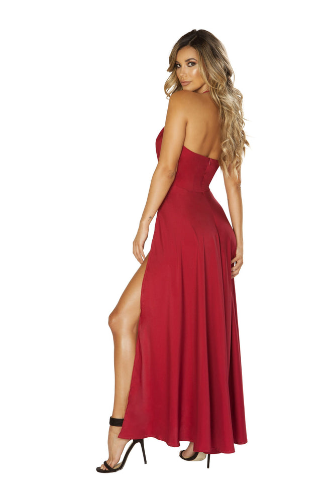 3649 - Maxi Length Satin - Dress with High Slits & Deep V