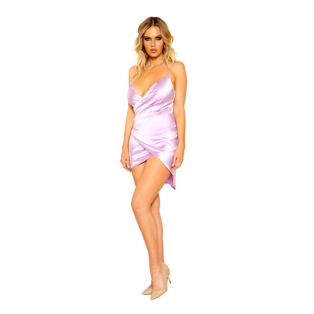 Women's Satin Dress with Overlapping Scrunch Detail