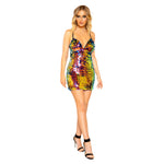 Women's Low Cut Tear Drop Sequin Mini Dress