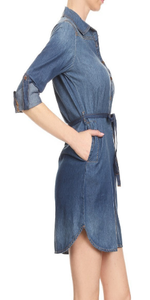 Womens Long Sleeve Denim Shirt Dress - S / Blue - Dresses morgan le faye llc sexy clothing online