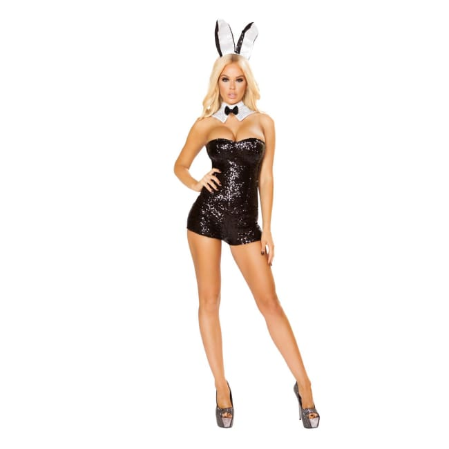 3pc Glamorous Bunny Costume Set - Small / Black - Costumes