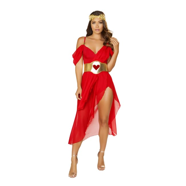 3pc Goddess of Love Costume Set - Small / Red/Gold - Costumes