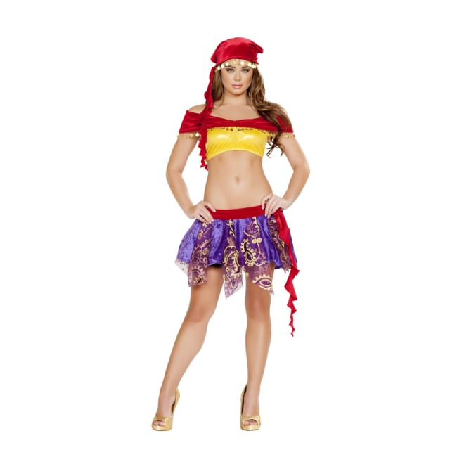 3pc Mischievous Gypsy Costume Set - Large / Red/Purple/Yellow - Costumes