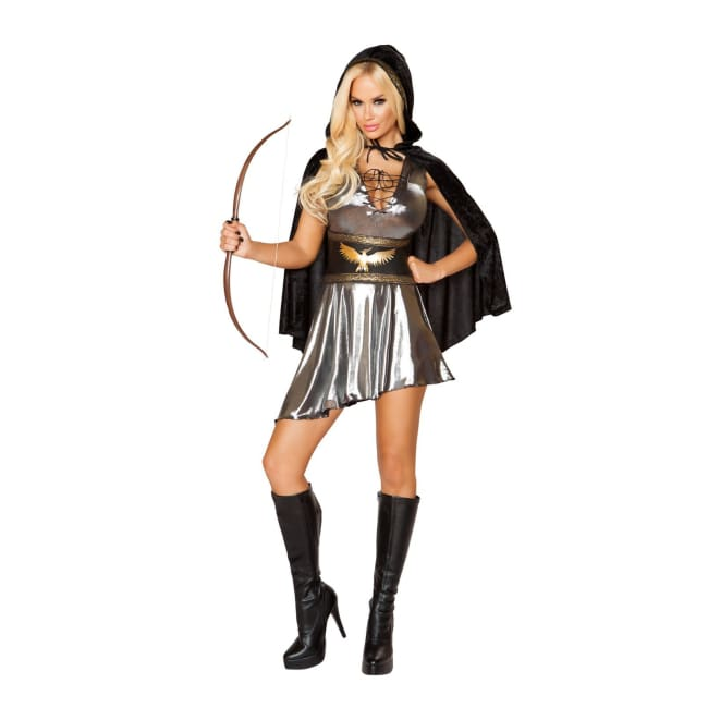 3pc Sexy Huntress Costume Set - Small / Gunmetal/Black - Costumes