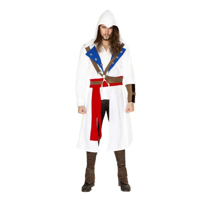3pc The Assassins Warrior Costume Set - Small / White/Blue/Red - Costumes mens