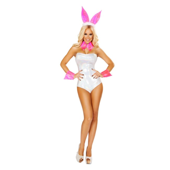 4pc Cute Bunny Costume Set - S/M / White/Silver - Costumes