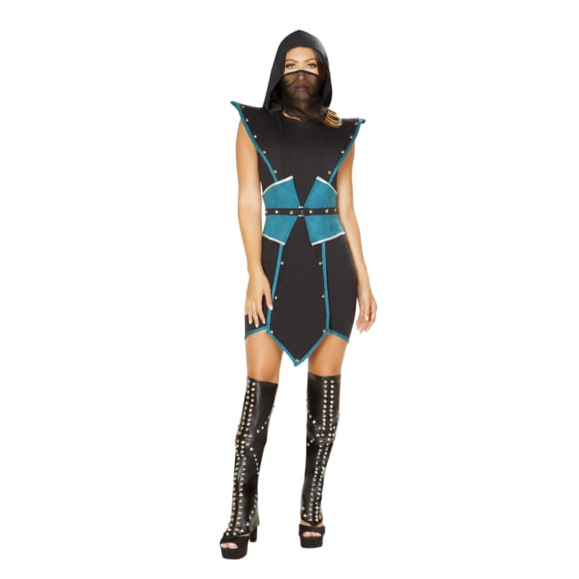 4pc Emperors Guard Costume Set - Small / Black/Turquoise - Costumes