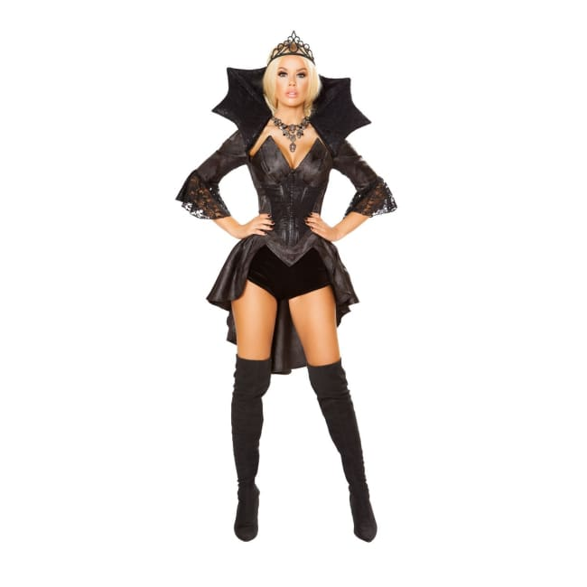 4pc Queen of Darkness Costume Set - Small / Black/Gunmetal - Costumes