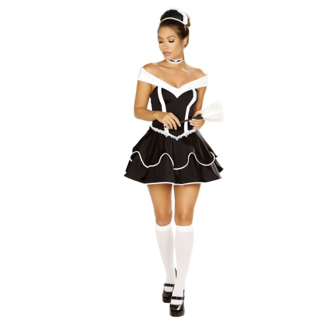 4pc Sexy Chamber Maid Costume Set - Small / Black/White - Costumes