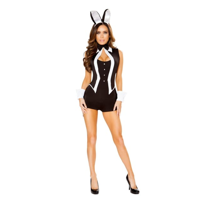 4pc Tuxedo Bunny Costume Set - S/M / Black/White - Costumes