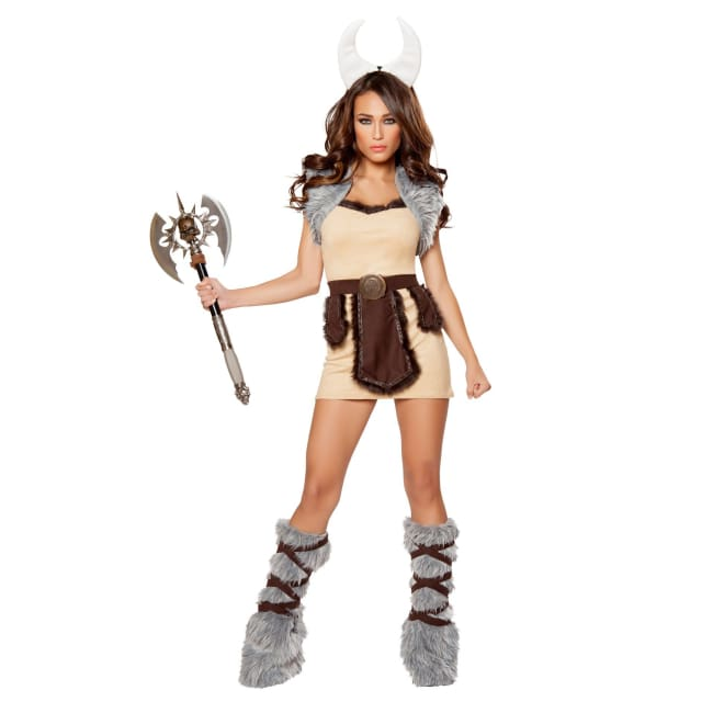 4pc Vicious Viking Costume - Small / Beige/Brown/Grey - Costumes Blowout Sale