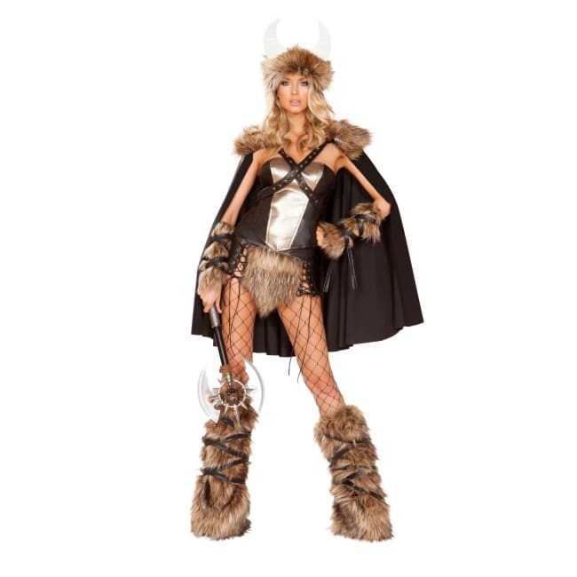 4pc Viking Warrior Costume Set - Small / Black/Beige - Costumes