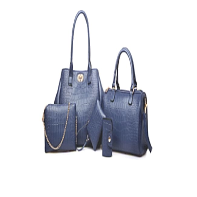 5 Piece Deep Blue Crocodile Print Set - Blue - Bags