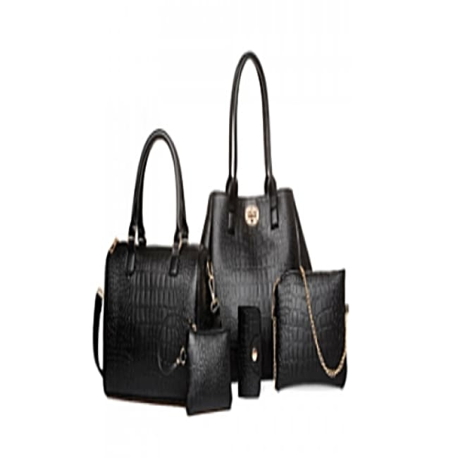 5 Piece Deep Blue Crocodile Print Set - Black - Bags