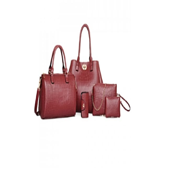 5 Piece Deep Blue Crocodile Print Set - Wine - Bags