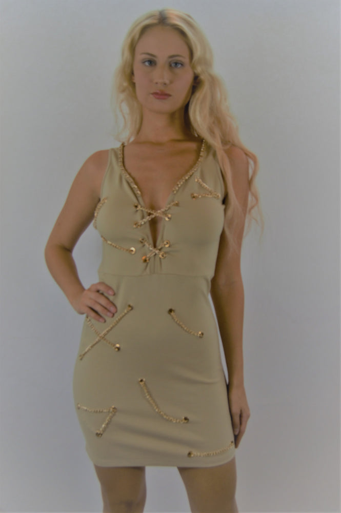 Women's Sleeveless Chain Link Sweetheart Dress