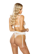 Women's Floral Bra & Garter Set in White