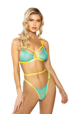 Women's Criss-Cross Neon Bra Set