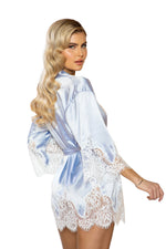 Women's  Elegant Cutout Eyelash Lace and Satin Robe