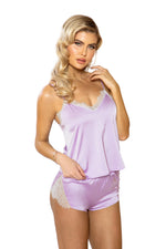 Women's Lavender Satin Lounge Set
