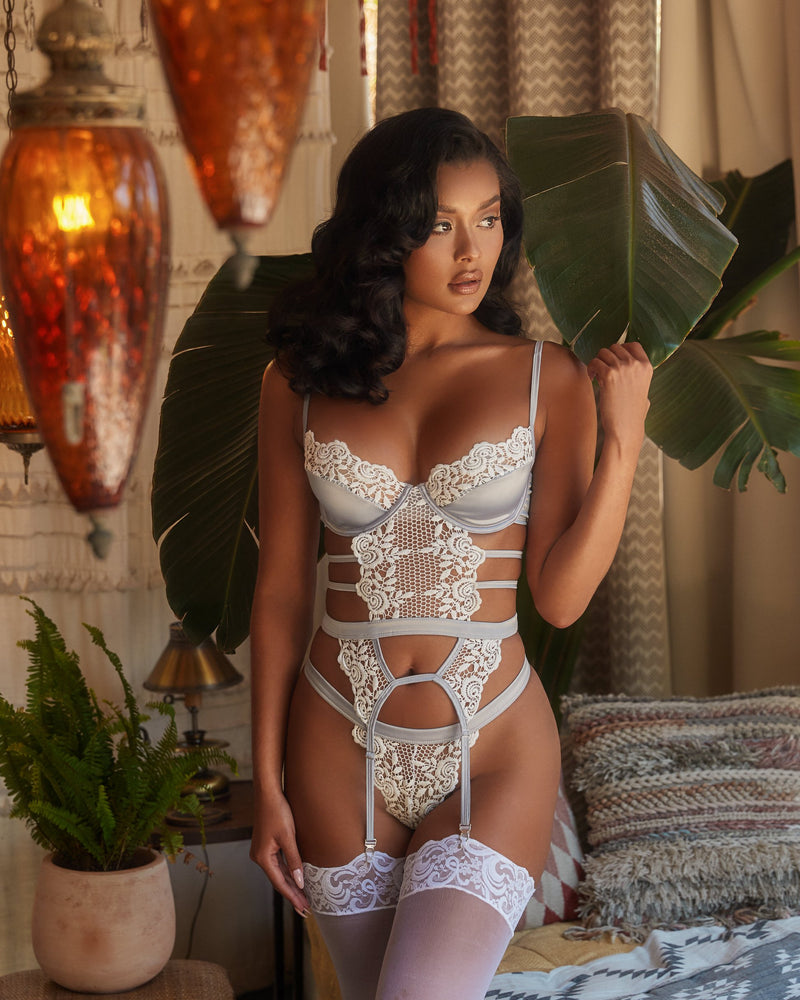 Women's Embroidered Lace & Satin Bustier Set