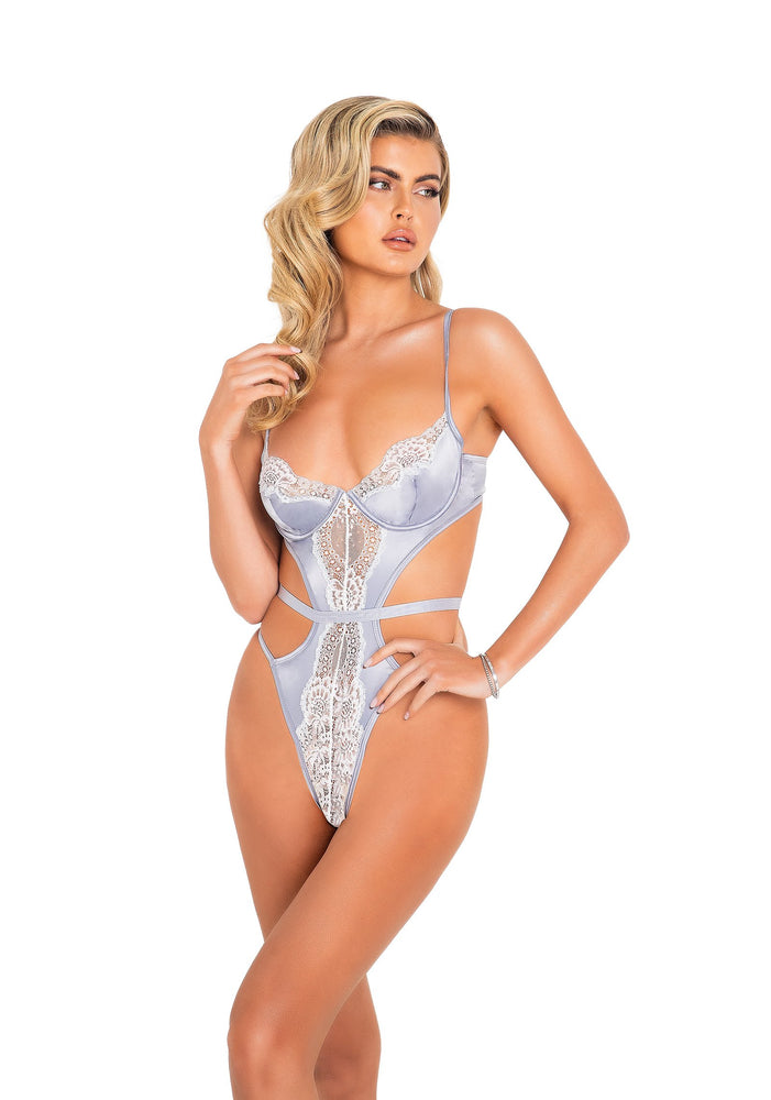LI440 - 1pc Satin & Lace Underwire Teddy