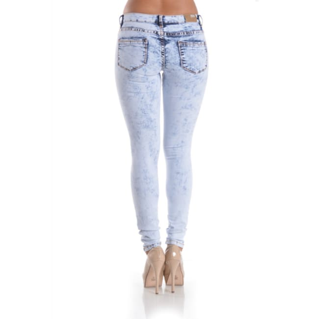Acid Washed Ripped Skinny Denim Jeans - Bottoms