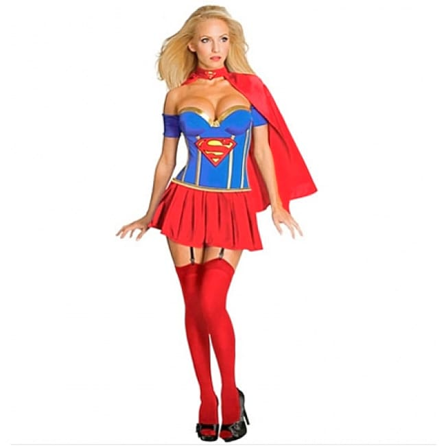 Adult Supergirl Corset Costume - One Size / Red - Costume