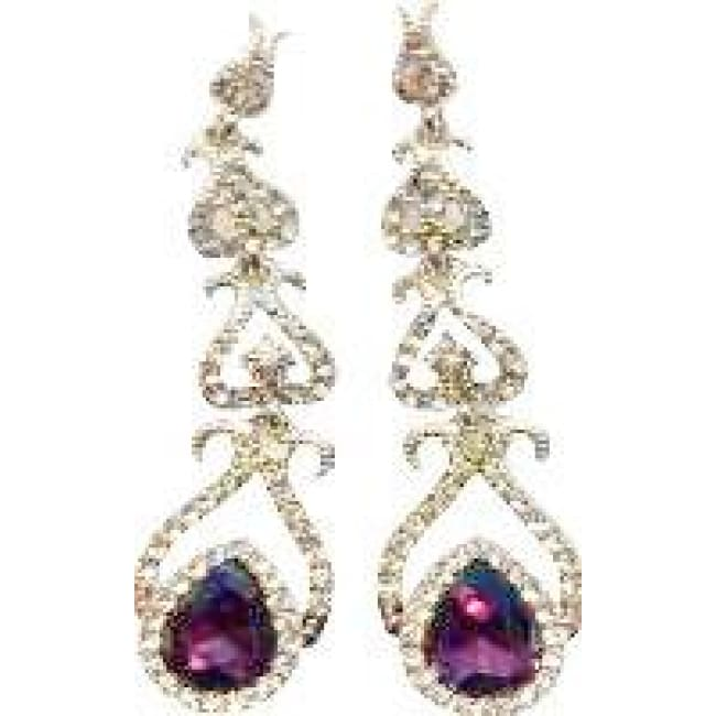 Amethyst and Diamond Tear Drop Pendant Earrings - earings
