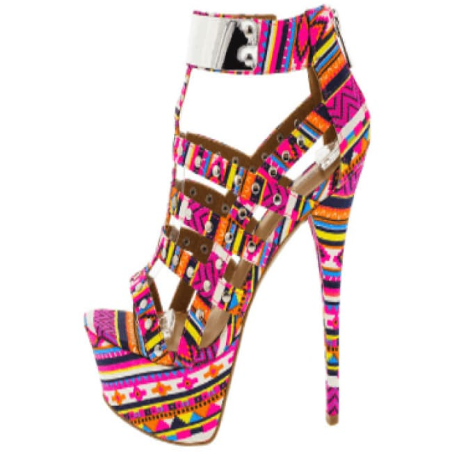 Aztec Guardian High Heel Pumps - 8 / Multi - Heels