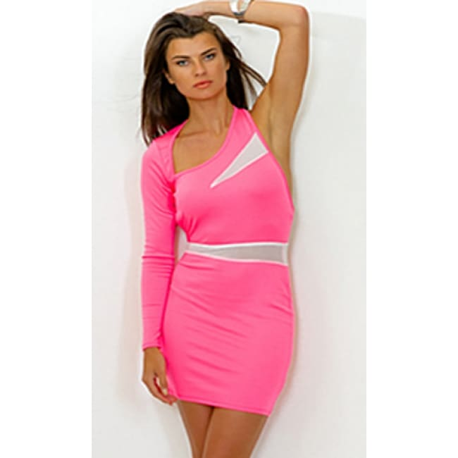Women's Hot Pink Backless Long Sleeve Mesh Dress