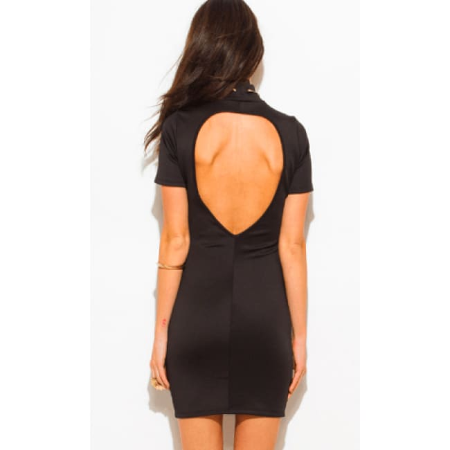 Backless Mini Dress - Dresses