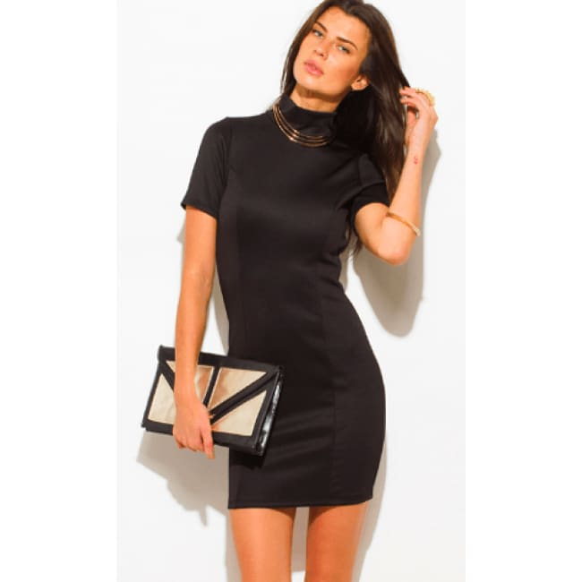 Backless Mini Dress - S / Black - Dresses