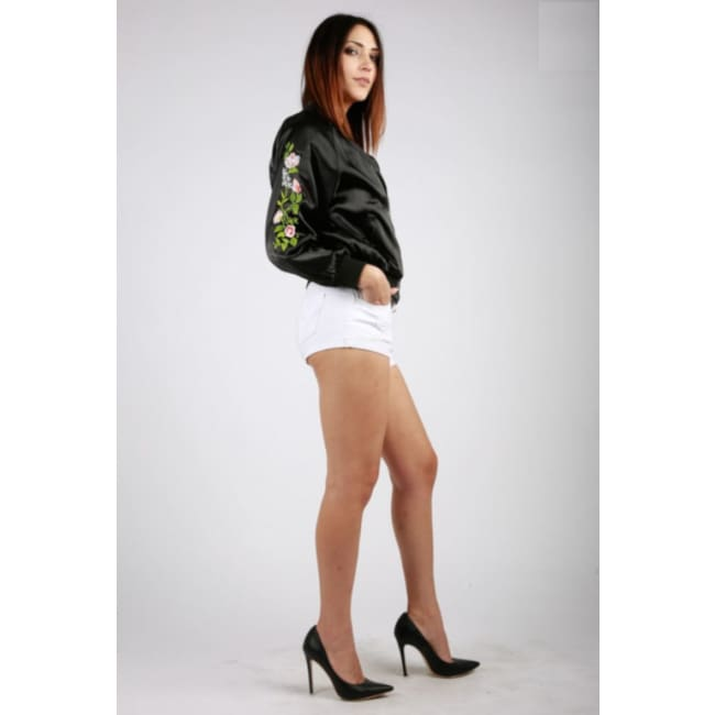 Black Floral Print Bomber Jacket - womens Jackets