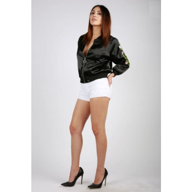 Women's Floral Print Black Bomber Jacket