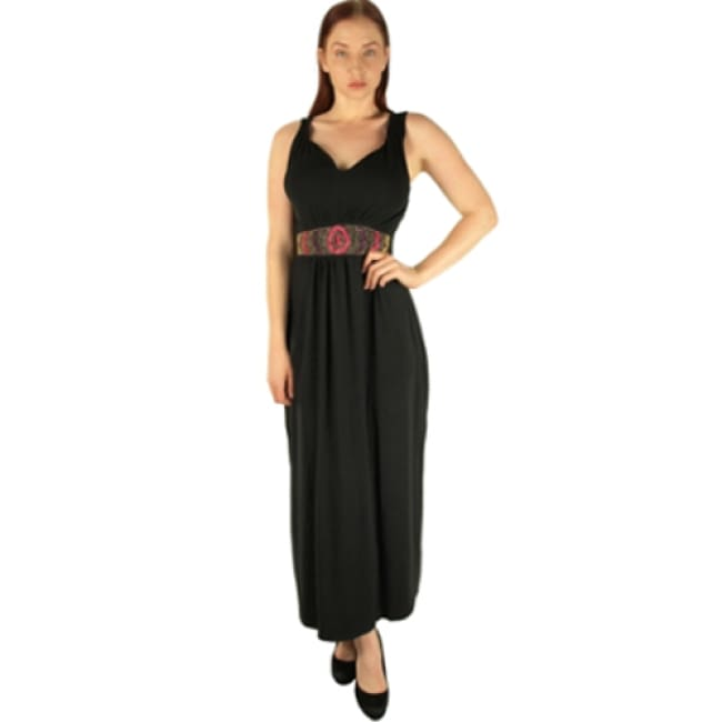 Black Maxi Dress With Beaded Waist - 4X / black - Dresses