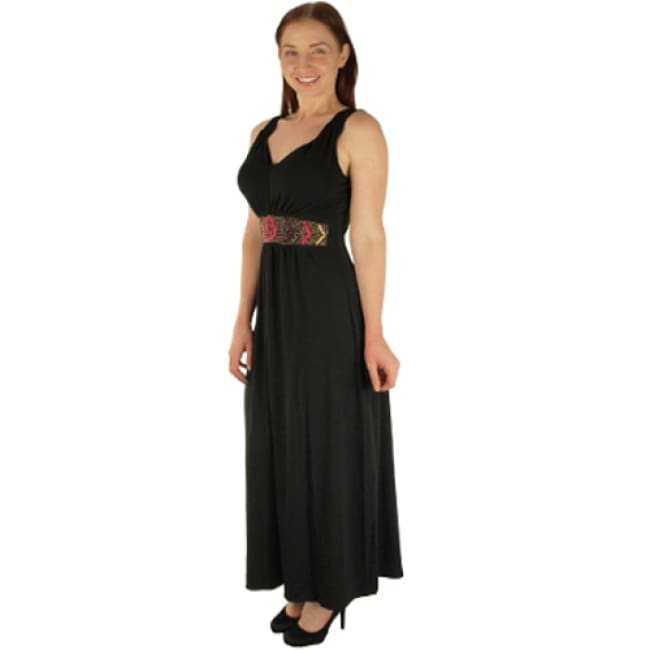 Black Maxi Dress With Beaded Waist - 6X / black - Dresses
