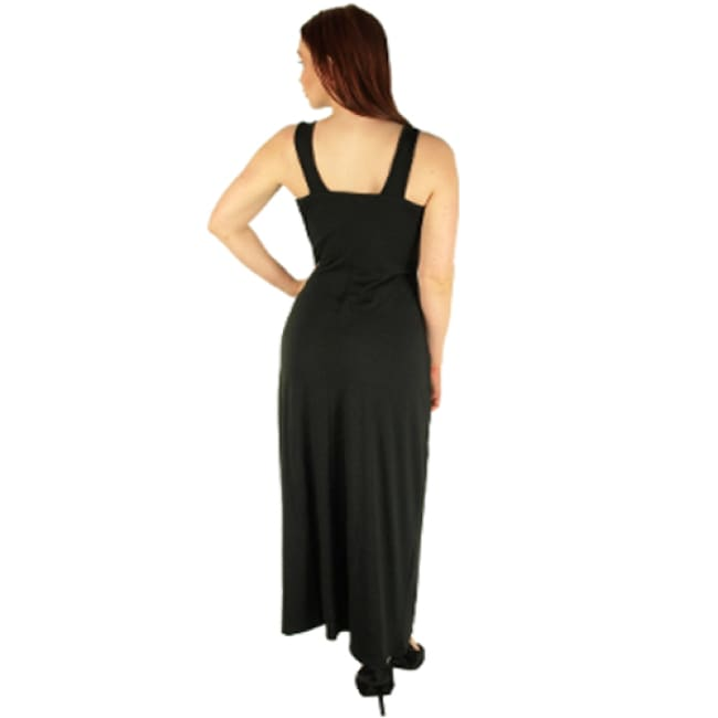 Black Maxi Dress With Beaded Waist - Dresses